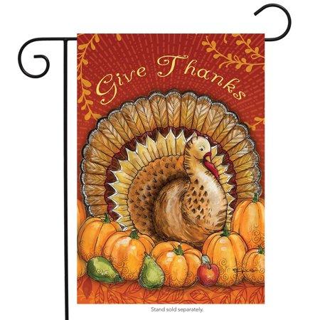 Give Thanks Turkey Garden Flag Thanksgiving Pumpkins Pears 12.5
