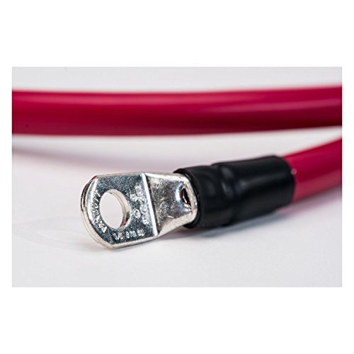 Made in America 1 Foot Positive 2 AWG Gauge Battery Cable Red Single 12 inch