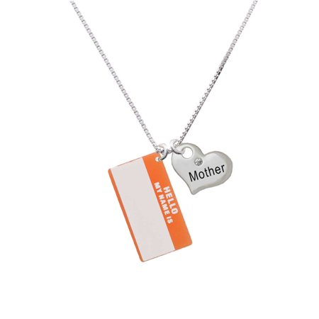 "Acrylic Orange ""Hello"" Name Tag Mother Heart Necklace"