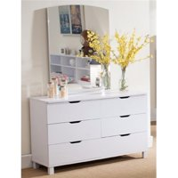 Spacious Glossy White Dresser with 6 Drawers