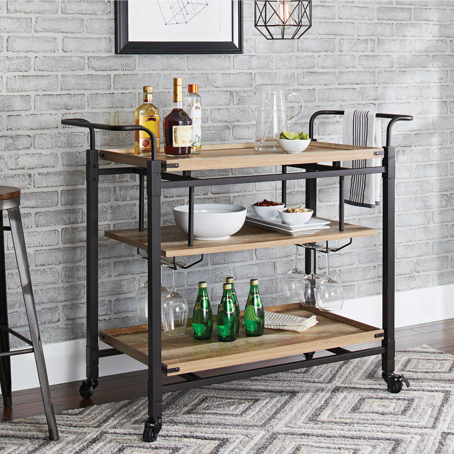 Better Homes and Gardens Crossmill Bar Cart, Weathered Finish