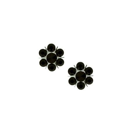 - Silver Jet 7 Rhinestones Flower Shaped Clip Earrings
