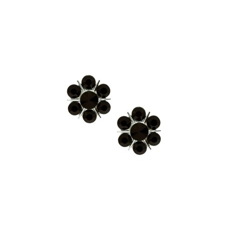 - Silver Jet 7 Rhinestones Flower Shaped Clip Earrings