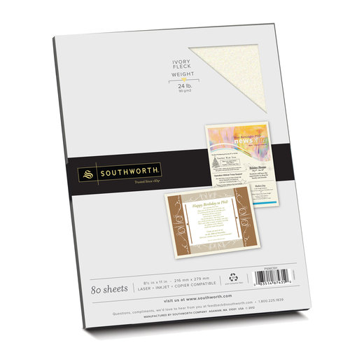 "Southworth Parchment Specialty Paper, 8.5"" x 11"", 24 lb., Ivory, 80 Sheets"