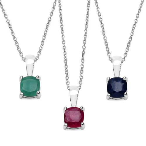 Malaika Sterling Silver 1.85 Carat Emerald Ruby and Sapphire Pendant Set