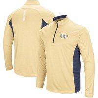 Georgia Tech Yellow Jackets Colosseum Audible Windshirt Quarter-Zip Pullover Jacket - Heathered Gold/Navy
