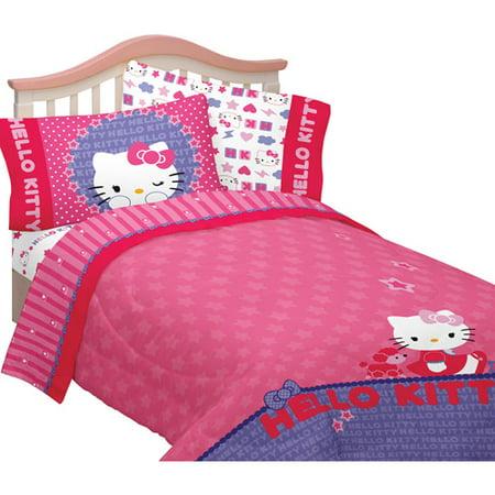 Hello Kitty Microfiber Twin Full Reversible Comforter. Hello Kitty Microfiber Twin Full Reversible Comforter   Walmart com