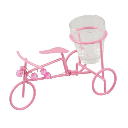 Pink Metal Bike Shaped Design Wine Cup Adornment Artware + Clear Box - image 1 of 1