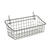"Spectrum Diversified 11"" x 4"" x 4"" Pegboard & Wall Mount Basket, Small Wire Basket for Slatwall & Pegboard, Home & Garage Storage, Versatile Wall Organizer for Tools & Craft Supplies, Industrial Gray"
