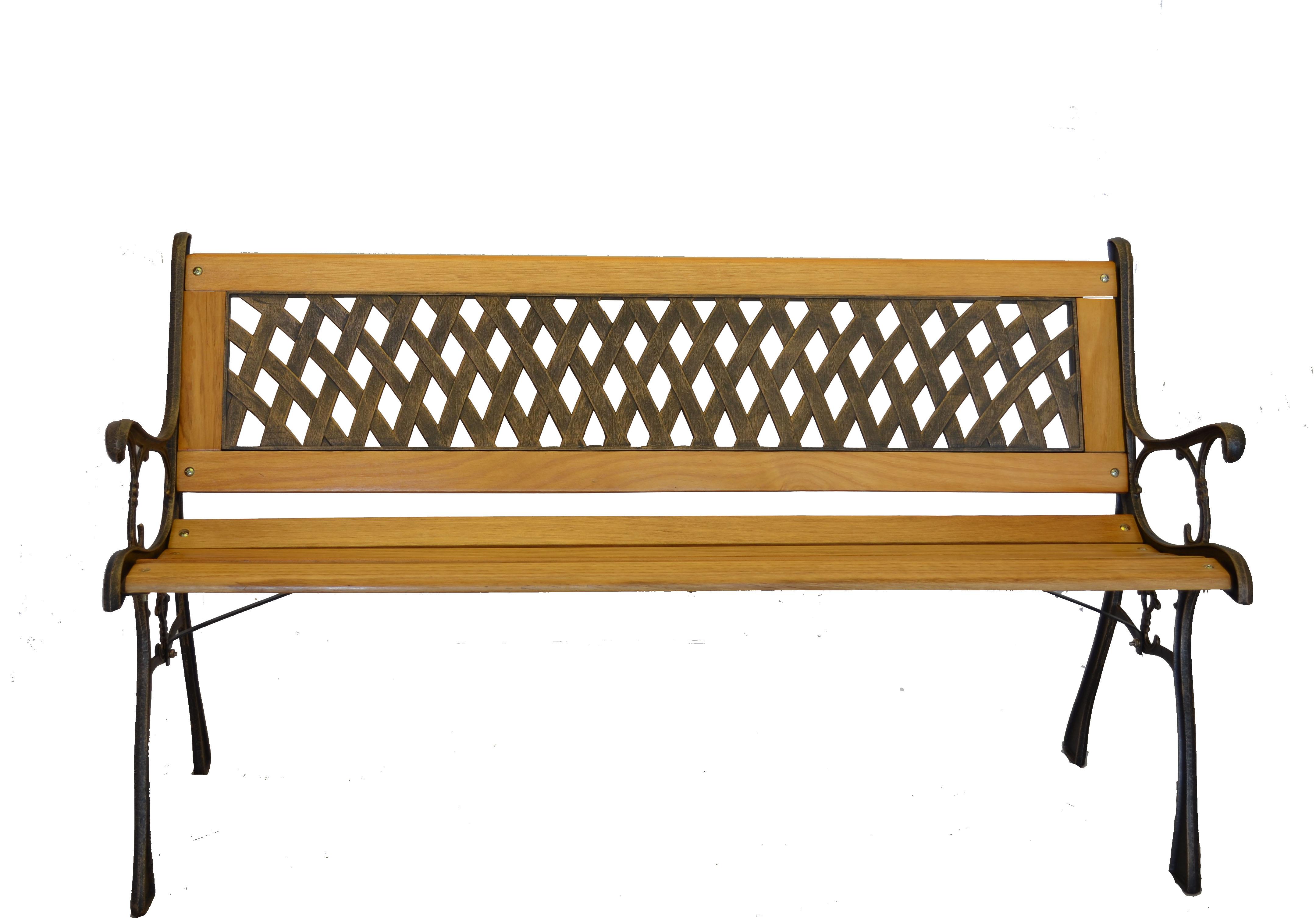 Basket Weave Iron & Wooden Park Bench w  Resin Back Insert for Yard or Garden V2 by Kozy Life