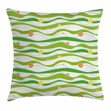 - Geometric Throw Pillow Cushion Cover, Colorful Wavy Horizontal Bands with Abstract Creative Figures Artsy Graphic, Decorative Square Accent Pillow Case, 16 X 16 Inches, Lime Green White, by Ambesonne