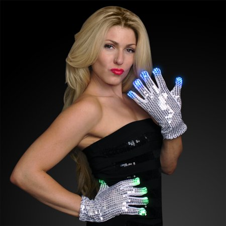 FlashingBlinkyLights Multicolored LED Silver Sequin Light Up - Light Up Gloves