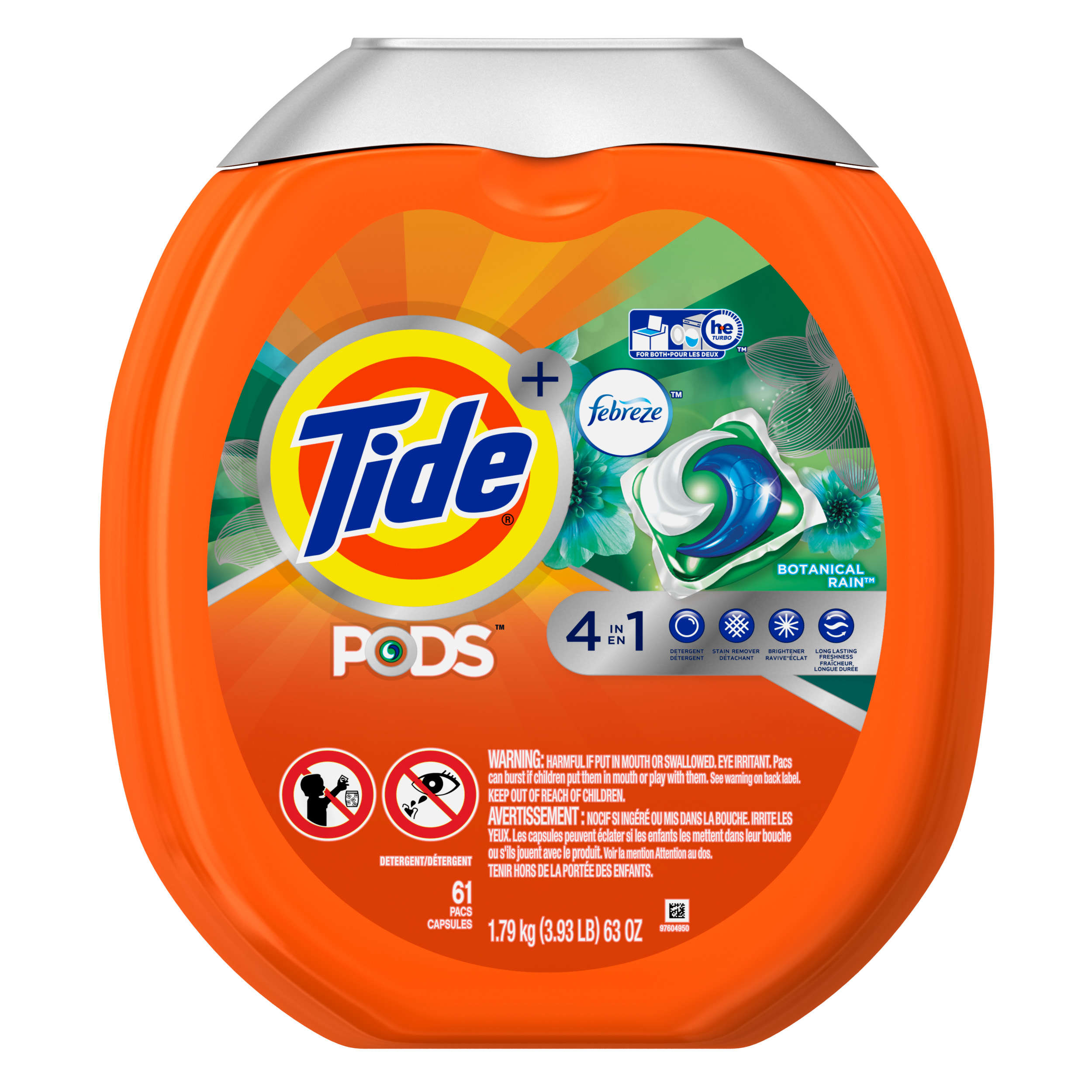 Tide PODS Plus Febreze Laundry Detergent Pacs, Botanical Rain Scent, 61 count, Designed For Regular and HE Washers