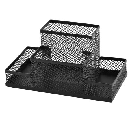 Metal Mesh 4 Compartments Desk Supplies Pen Storage Box Holder Organizer Black