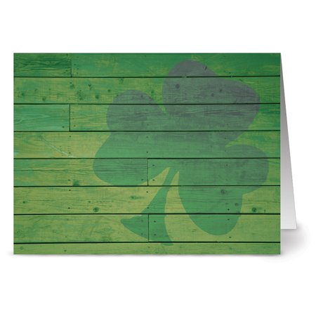 Funny St Patricks Day Card - 24 St. Patrick's Day Note Cards - Rustic Clover - Blank Cards - Green Envelopes Included