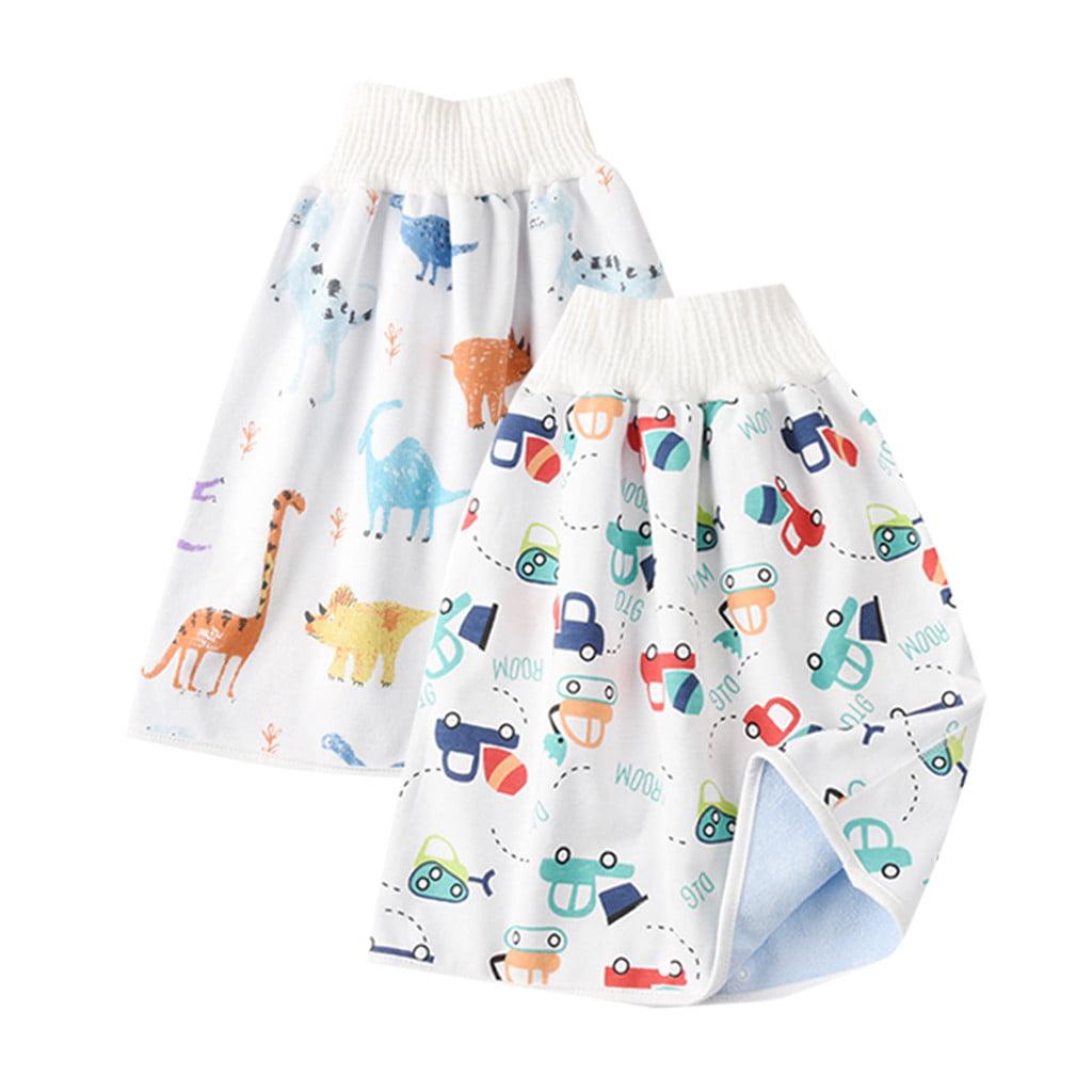 GEMVIE 2 Pack Baby Diaper Skirt,Toddler Girls Potty Training Skirt Cotton Washable Toilet Training Nappy Skirt