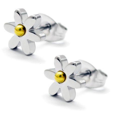 Daisy Floral Earrings (Stainless Steel Daisy Flower Two-Tone Floral Stud Post)