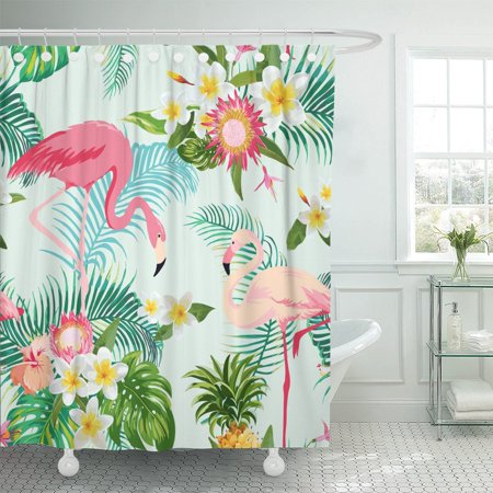 PKNMT Pattern Tropical Flowers and Birds Vintage Flamingo Party Exotic Polyester Shower Curtain 60x72 inches ()