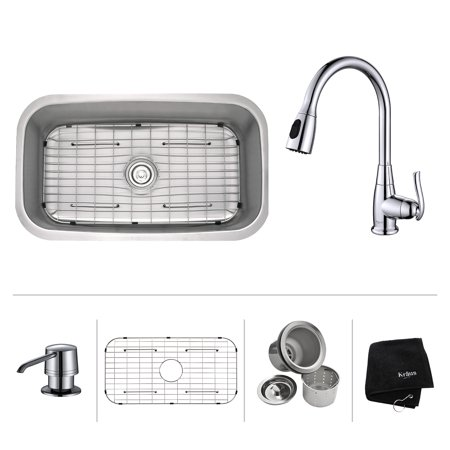 KRAUS 31 1/2 Inch Undermount Single Bowl Stainless Steel Kitchen Sink with Pull Down Kitchen Faucet & Soap Dispenser in Chrome
