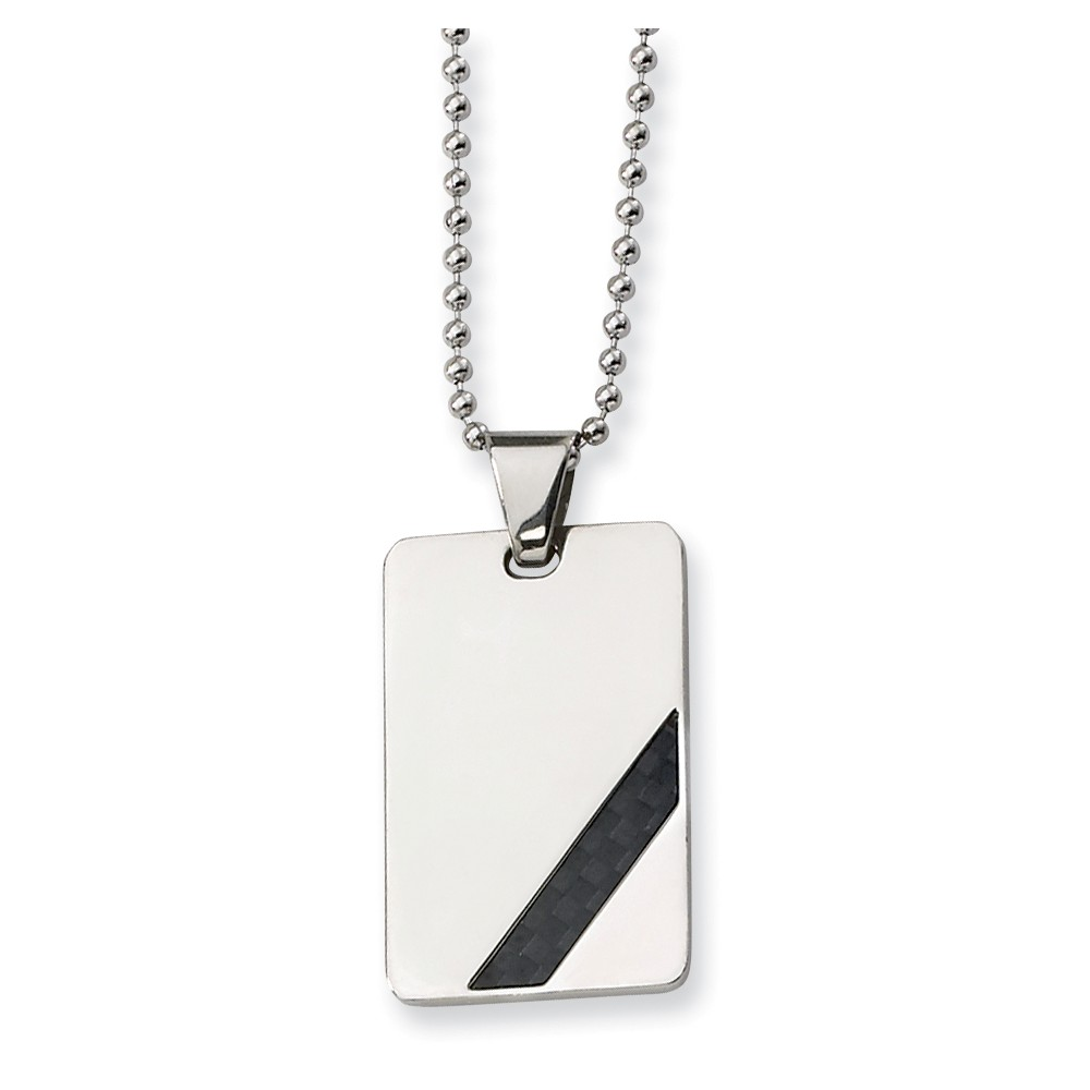 Stainless Steel Engravable Black Carbon Fiber Necklace (24in long)