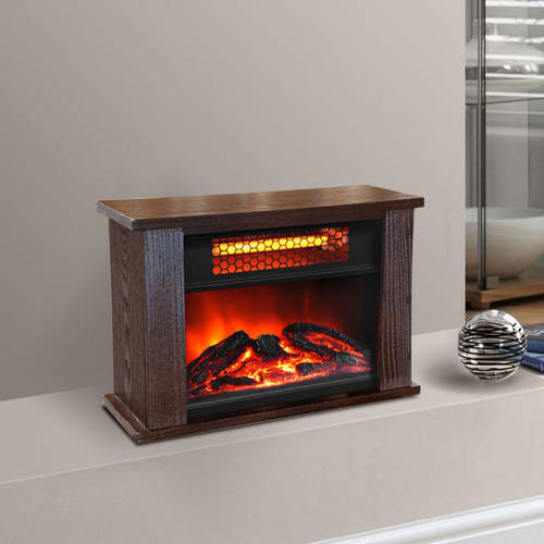 LifePro LifeSmart Infrared Quartz Heater Mini Fireplace, 750 Watt, Wood