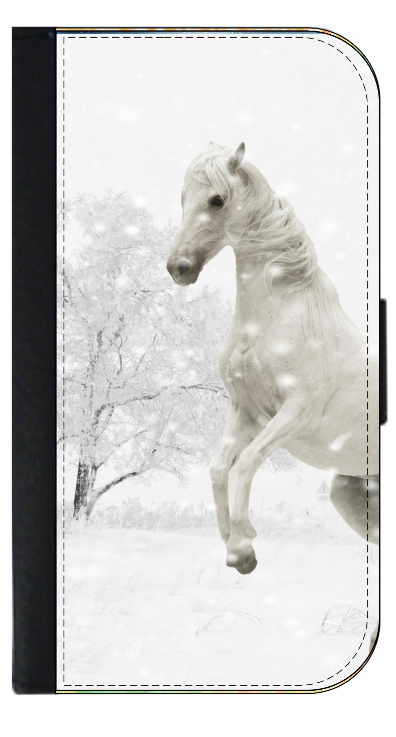 White Horse Wild Animals Flip Wallet Phone Case Flip Wallet Phone Case for iPhone Samsung Huawei