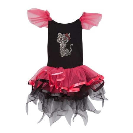 Girls Hot Pink Black Rhinestone Cat Tutu Halloween Dress 12M-7 - Carters Halloween Dress