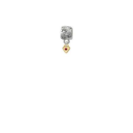 Goldtone Mini January - Maroon Crystal Heart - Paw Print Charm Bead