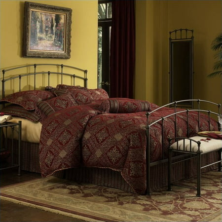 Fenton Complete Metal Bed and Steel Support Frame with Gentle Curves, Black Walnut Finish, Twin ()