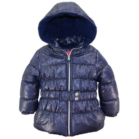 pink platinum toddler girl puffer coat with all over spray print winter jacket with mock
