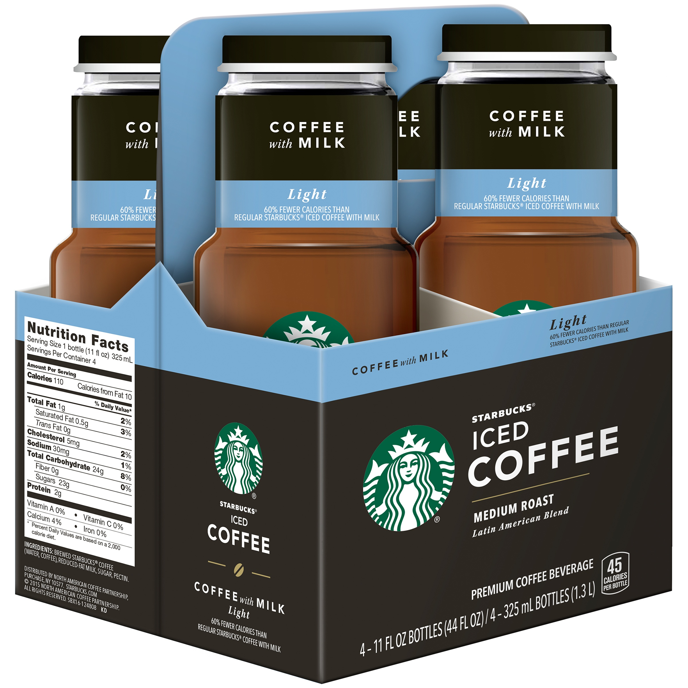 Starbucks© Medium Roast Light Iced Coffee, 4 Count, 11 fl oz Bottles