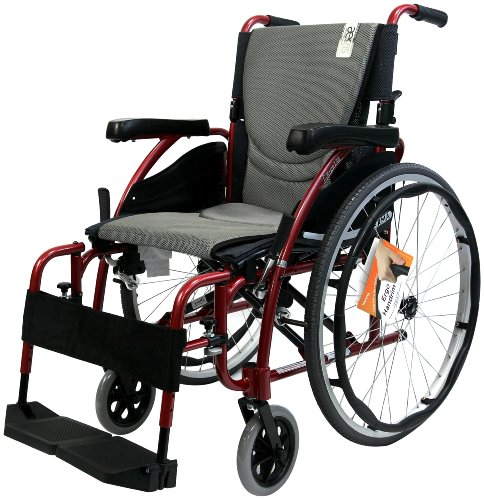 Karman Ergonomic Wheelchair in 16 inch Seat, Red Frame and Silver Cushion
