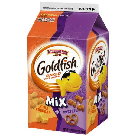 Cheddar Pretzel - Pepperidge Farm Goldfish Mix Flavor Blasted Xtra Cheddar + Pretzel Crackers, 34 oz. Carton