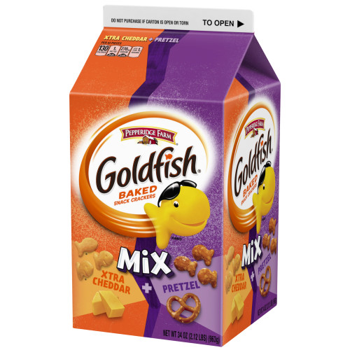 (2 Pack) Pepperidge Farm Goldfish Mix Xtra Cheddar + Pretzel Crackers, 34 oz. Carton