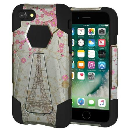 Premium Shockproof Designer Hybrid Dual Layer Soft Skin Rubber Case Hard Shell Stand Cover for Apple iPhone 7 - White Vintage Eiffel Tower Paris Sakura