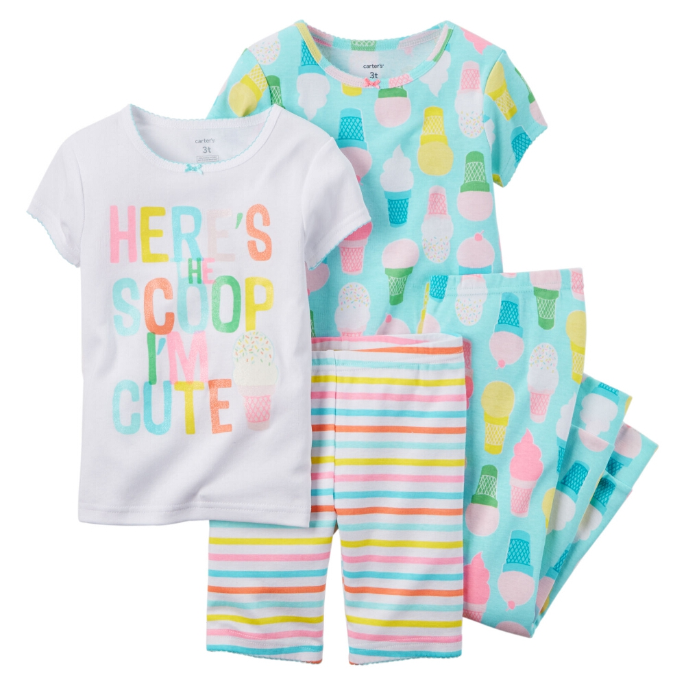 Carters Little Girls 4-Piece Snug Fit Cotton PJs Ice Cream Print Blue