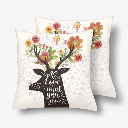 GCKG Love What You Do Deer Silhouette Flower Lovely Spring Throw Pillow Covers 18x18 inches Set of 2 - image 3 of 3