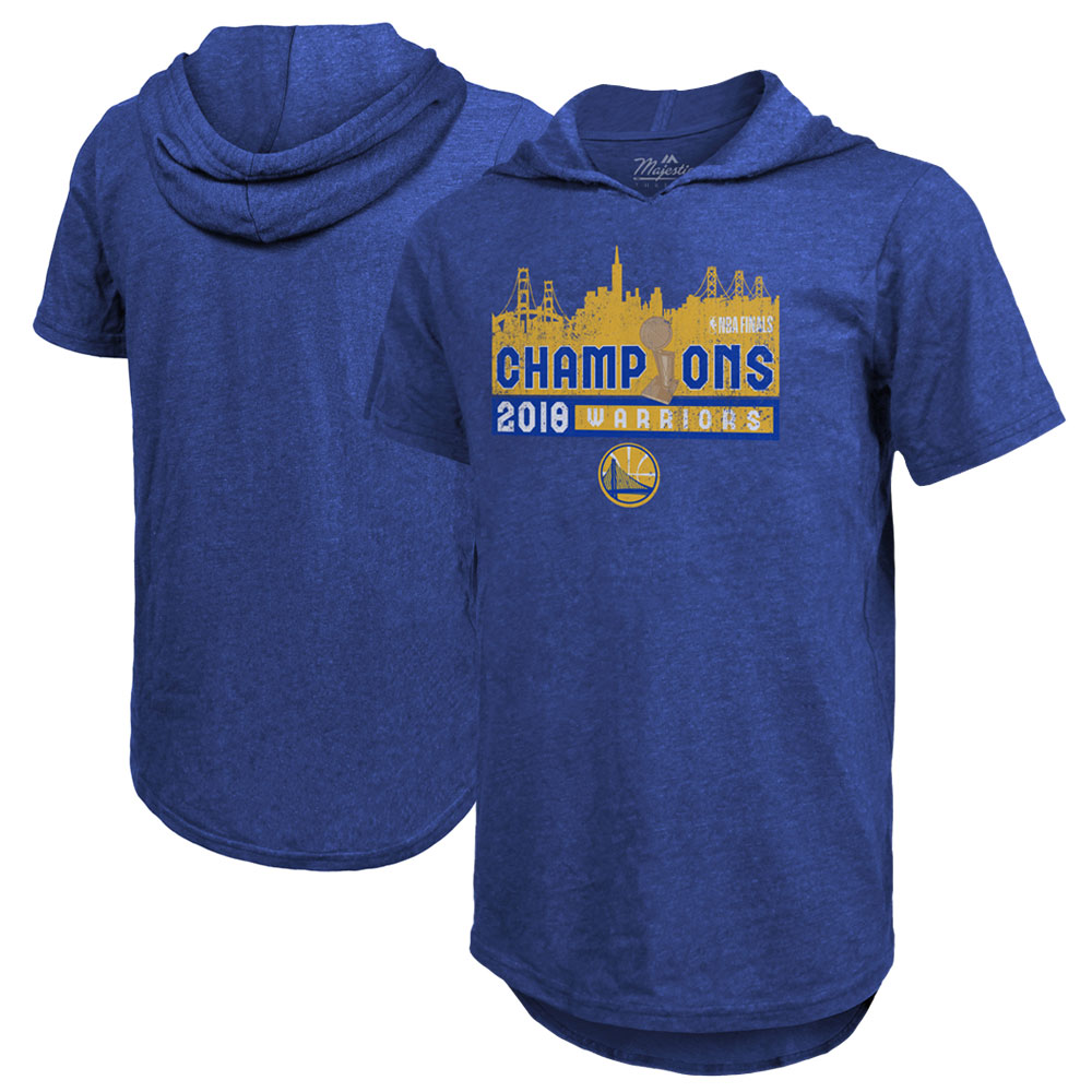 Golden State Warriors Majestic Threads 2018 NBA Finals Champions City Skyline Tri-Blend Short Sleeve Pullover Hoodie - Royal