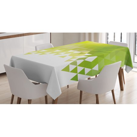Green Tablecloth Triangular Abstract Pattern Design Geometrical Mosaic Poly Effect Rectangular Table Cover For