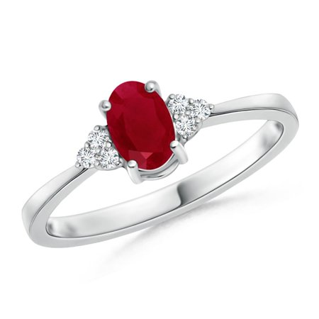 July Birthstone Ring - Solitaire Oval Ruby and Diamond Promise Ring in Platinum (6x4mm Ruby) - SR0231R-PT-AA-6x4-9.5