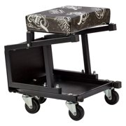 Gas Monkey Garage Mechanic Creeper Seat and Stool Combo - 5 Rolling Casters with 300 Lbs Capacity for Auto Car Garage