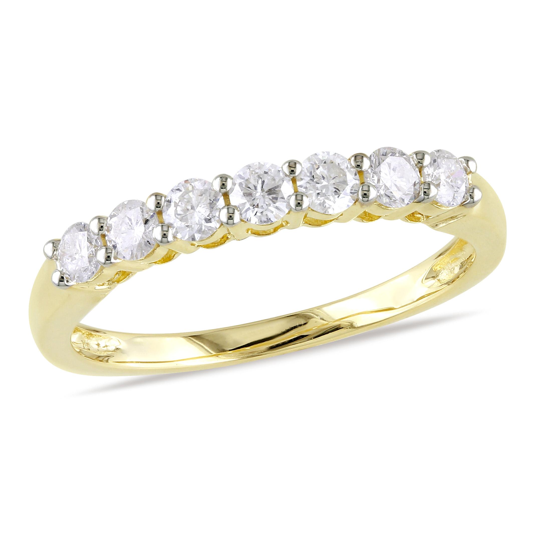 Miabella 1/2 Carat T.W. Diamond 10kt Yellow Gold Semi-Eternity Anniversary Ring