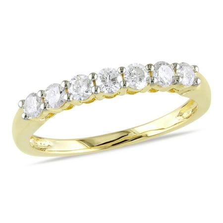 1/2 Carat T.W. Diamond 10kt Yellow Gold Semi-Eternity Anniversary Ring