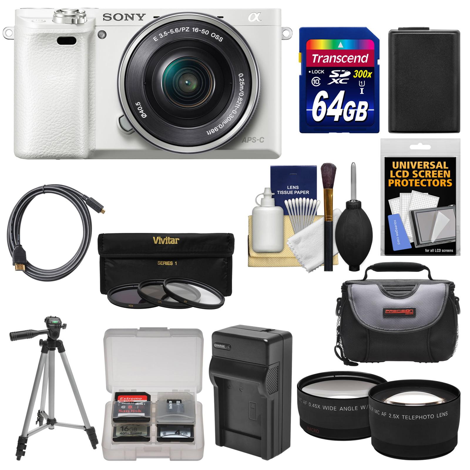 Sony Alpha A6000 Wi-Fi Digital Camera & 16-50mm Lens (White) with 64GB Card + Case +... by Sony