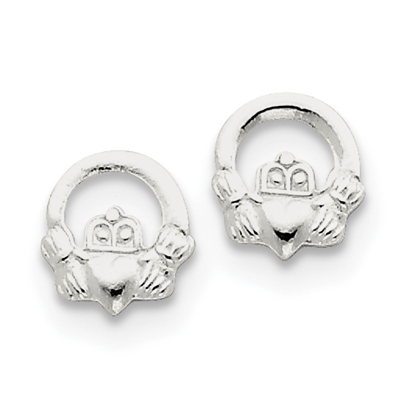 925 Sterling Silver Textured Polished Open Claddagh Post Earrings