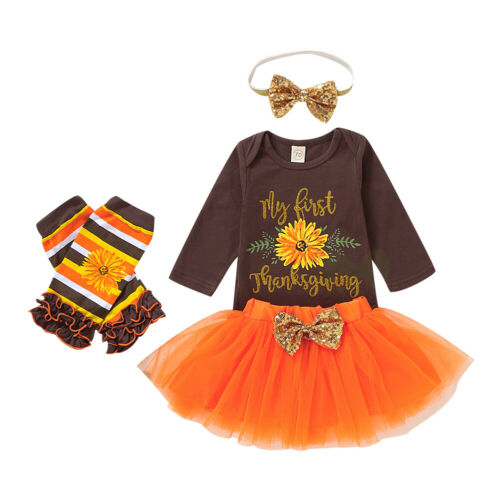 Walsoner Thanksgiving Outfits Baby Girl Letter Print Romper Turkey Strawberry Printed Tutu Dress Headband 3PC 0-24 Months