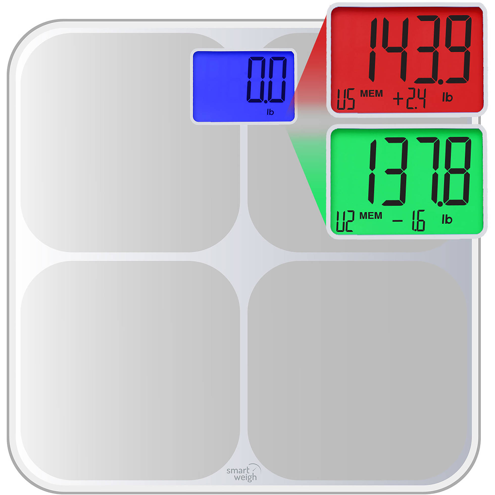 Smart Weigh Digital Bathroom Scale, High Accuracy, Dual Color Weight Change Detection and Smart Step-On Auto Recognition for 8 Users, Silver, SW-SMS500-SIL ...
