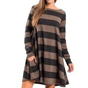 Women's Casual Flowy Simple Swing T-Shirt Dress Loose Fit Tunic Dresses with Pockets