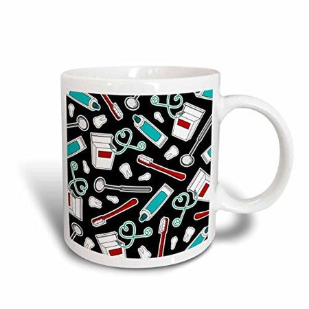 (3dRose Cute Dentist Dental Hygienist Print Black, Ceramic Mug, 11-ounce)