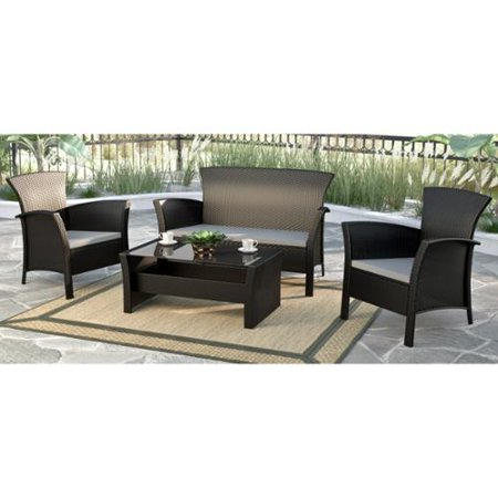 corliving cascade black rope weave 4 piece patio set